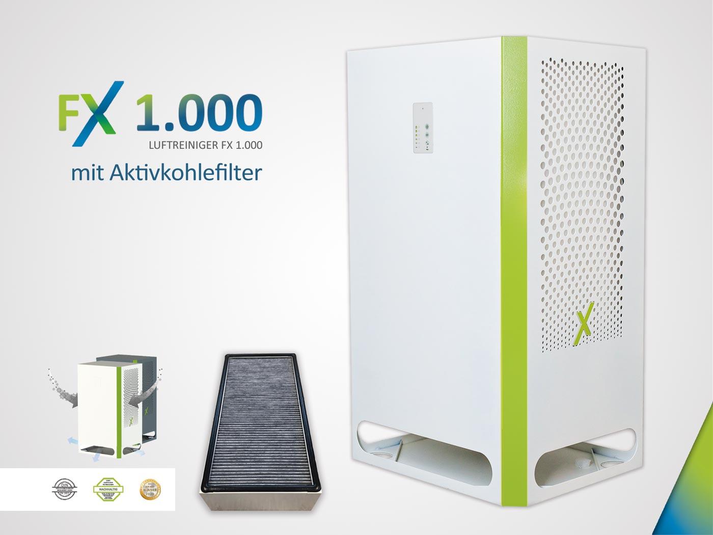 FX 1.000 - Luftreiniger und Raumluftfilter mit Aktivkohle und HEPA H14 Filter