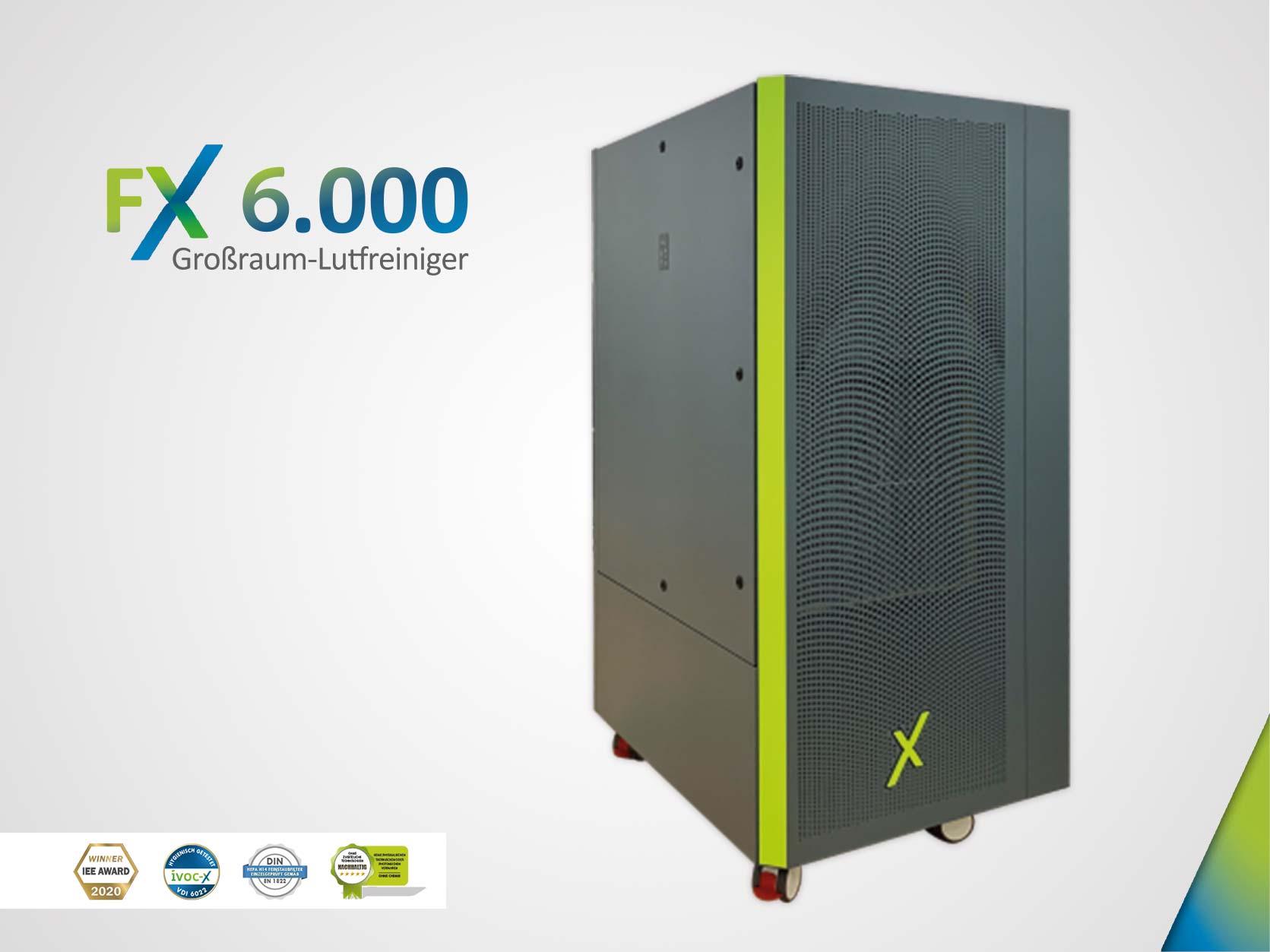 FX 6.000 - Großraum-Luftreiniger und Raumluftfilter mit HEPA H14 Filter (grau - RAL7031)