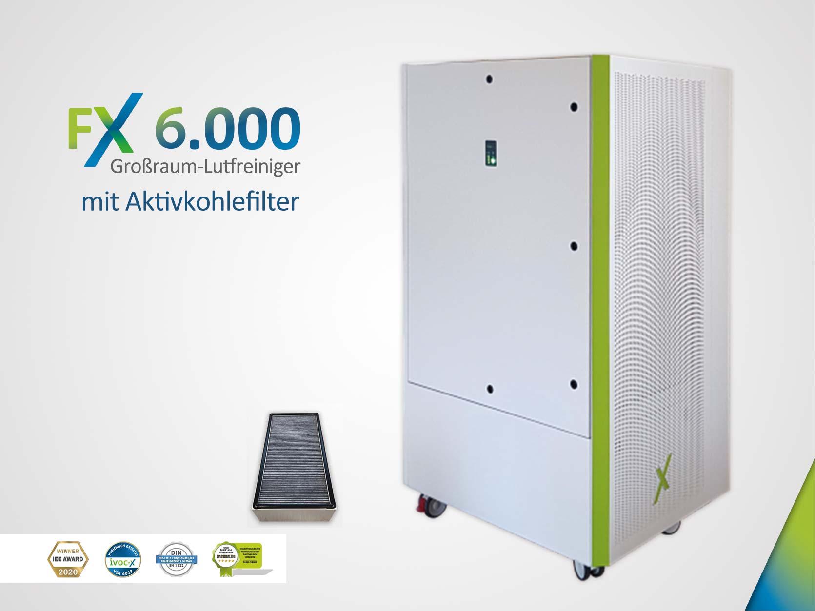 FX 6.000 - Großraum-Luftreiniger und Raumluftfilter mit Aktivkohle und HEPA H14 Filter (grau - RAL7031)